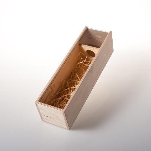 Dárková dřevěná krabice na 1 láhev se sklem, Dobré vinařství 1ks