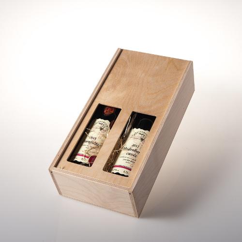 Dárková dřevěná krabice na 2 láhve, Dobré vinařství 1ks