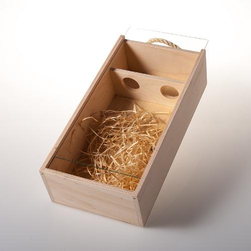 Dárková dřevěná krabice na 2 láhve se sklem, Dobré vinařství 1ks