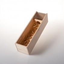 Dárková dřevěná krabice na 1 láhev se sklem