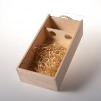 Dárková dřevěná krabice na 2 láhve se sklem