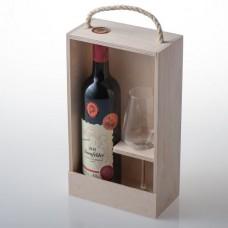 Dárkový set na 1 láhev vína se skleničkou